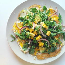 open faced omelette with arugula, avocado and sweet corn salad | www.nyssaskitchen.com