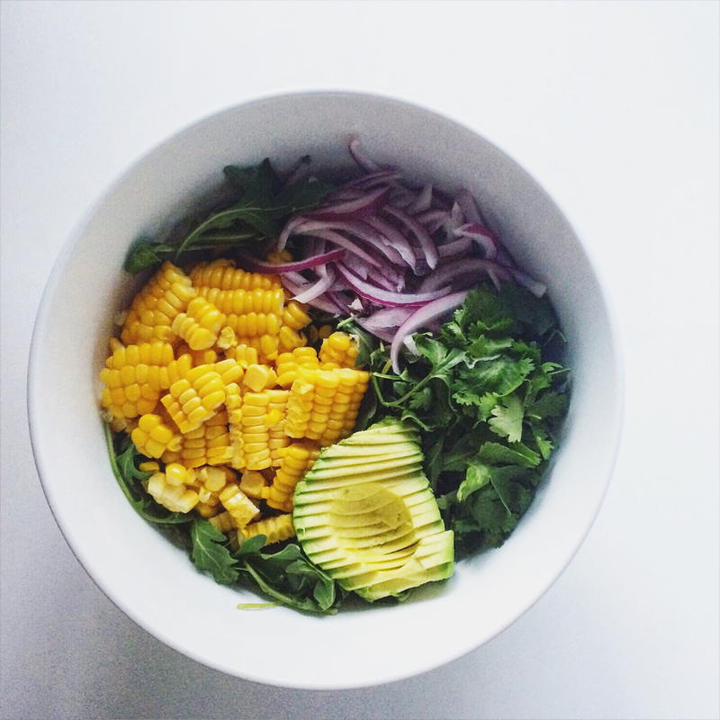 open faced omelette with arugula, corn and avocado salad | www.nyssaskitchen.com