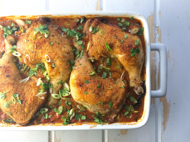 crispy coconut braised chicken with tomatoes, kale and potatoes | www.nyssaskitchen.com
