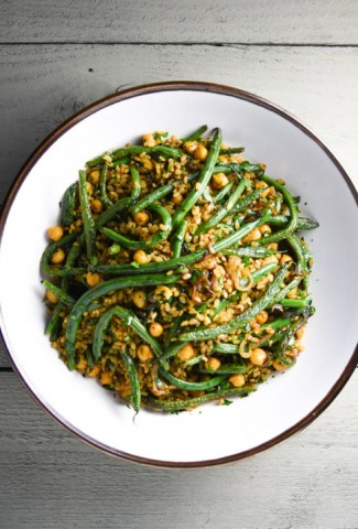 fried brown rice with curried chickpeas, green beans and herbs   www.nyssaskitchen.com