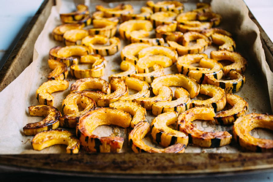roasted delicata squash with fried shallots, herbs and salted brown butter yogurt | www.nyssaskitchen.com