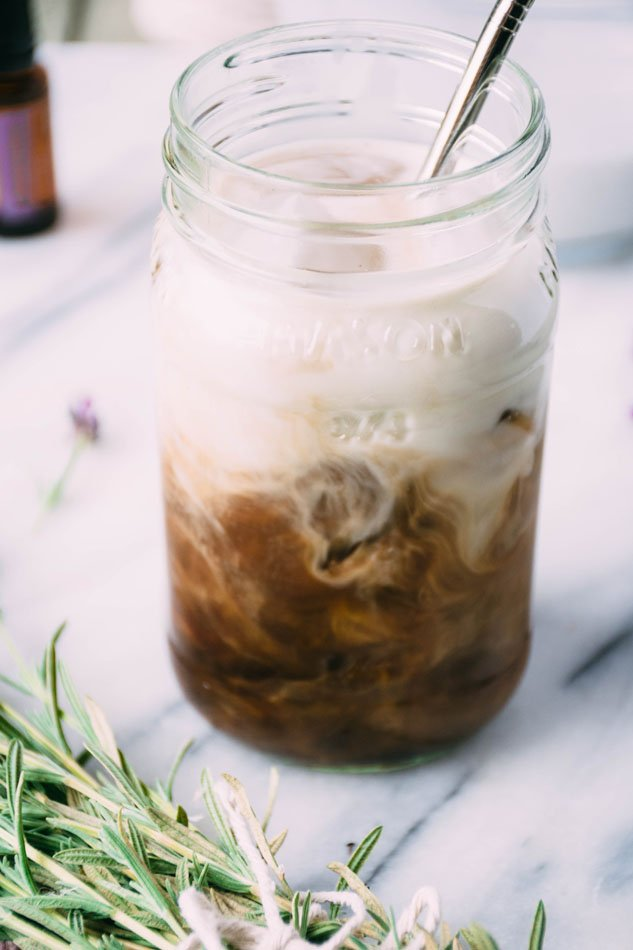 lavender coconut iced coffee is a delightfully easy, dairy free homemade fancy coffee recipe perfect for the late summer months. made with coconut milk, lavender, iced coffee and coconut sugar or honey. | www.nyssaskitchen.com