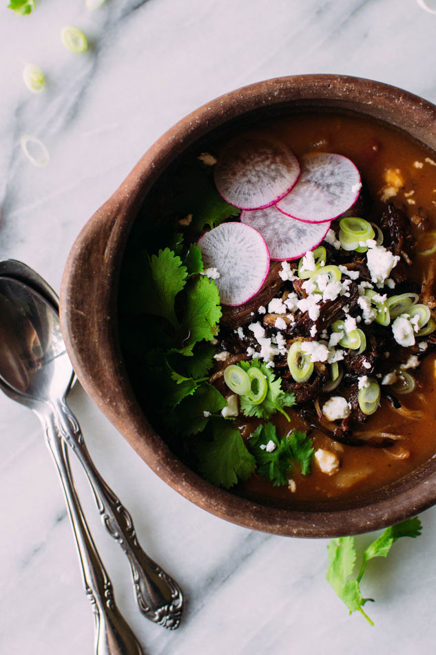 Crockpot crispy carnitas soup - easy comfort food that's like a meeting between your favorite carnitas taco and spicy, brothy tortilla soup!