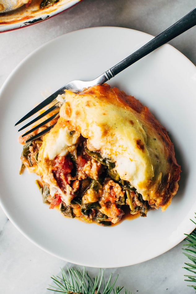 Paleo italian shepherds pie with bolognese sauce and whipped parsnips! A delicious and easy casserole packed full of veggies and delicious flavors - perfect for a healthy cold weather dinner!
