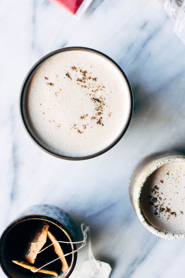 Bulletproof rooibos cardamom blender lattes! These fancy homemade drinks are a frothy, creamy dream - made with natural sweeteners and full of healthy fats and antioxidant + mineral rich rooibos! No fancy milk steamer required.