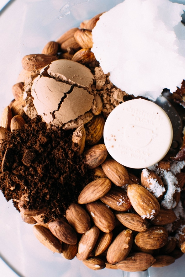 Crust ingredients for salted mocha hazelnut tart with Rawmio chocolate - an incredibly decadent and satisfying vegan and paleo dessert! No bake, made with nutrient dense ingredients, and sprinkled with sea salt like every great chocolate dessert should be.