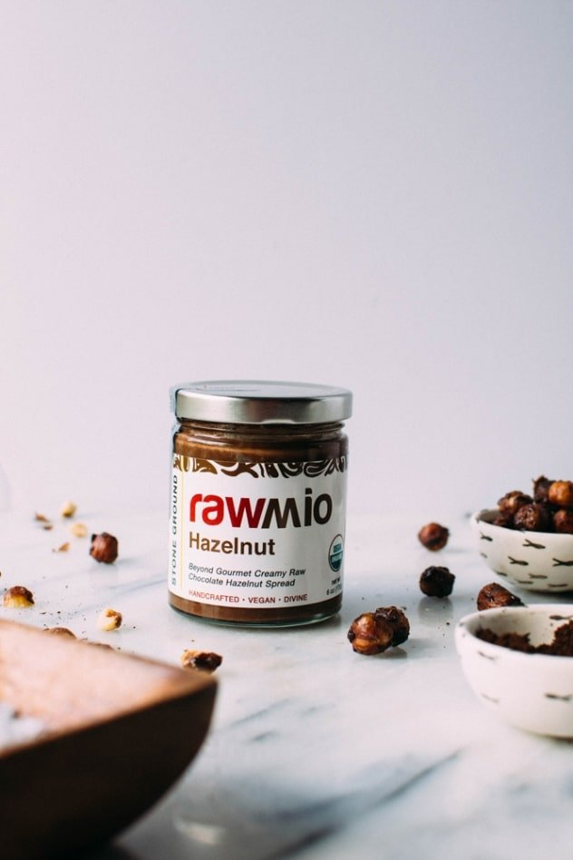 Rawmio chocolate hazelnut spread for salted mocha hazelnut tart. An incredibly decadent and satisfying vegan and paleo dessert! No bake, made with nutrient dense ingredients, and sprinkled with sea salt like every great chocolate dessert should be.