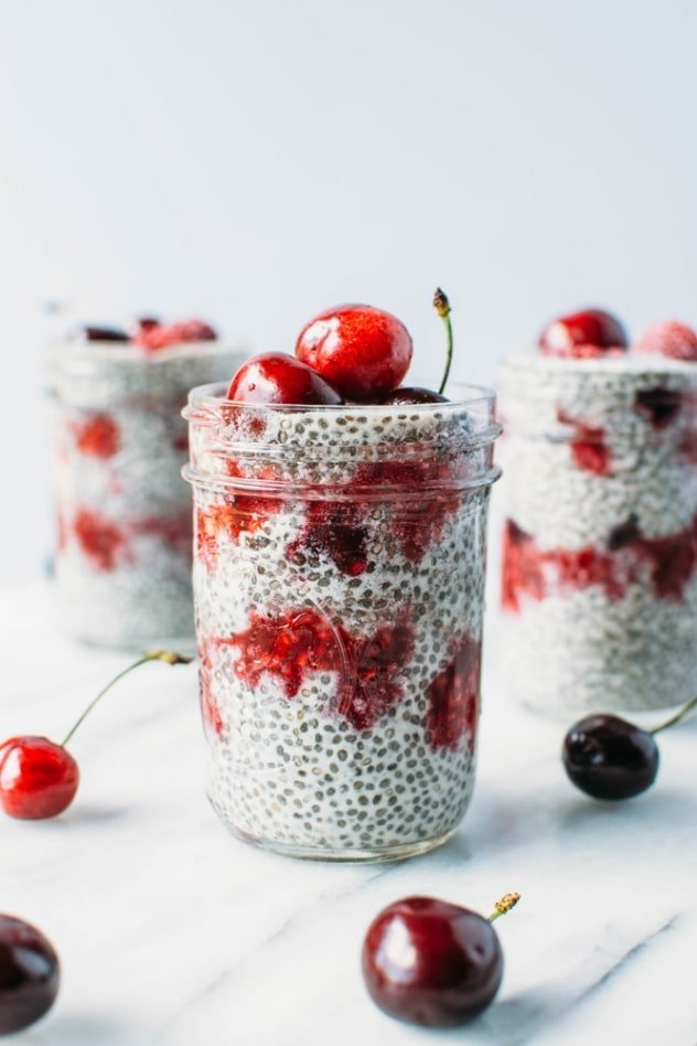 Creamy vanilla bean and cherry raspberry smash chia seed pudding is super easy to make, good for you and perfect for an on the go breakfast, snack or mindful indulgence!