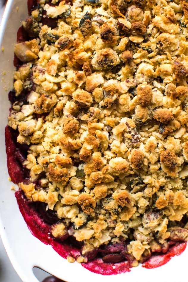 Paleo cherry strawberry crisp is the perfect simple and healthy summer treat. Free of grains, refined sugar, and processed vegetable oils, it will nourish your summer bod from the inside out!