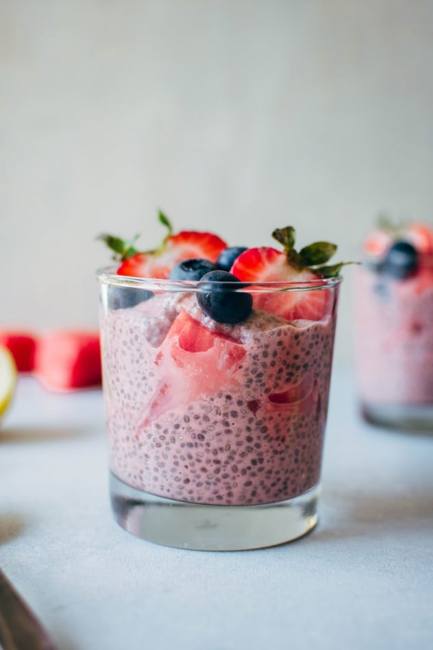 A simple and healthy recipe for creamy watermelon chia seed pudding made with minimal ingredients, and packed with juicy summertime flavor to keep you happy and healthy!