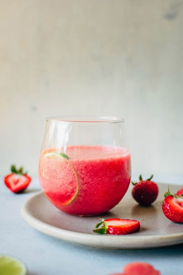 Watermelon strawberry quencher! The most hydrating watermelon drink you've ever had! Made with only fresh watermelon, frozen strawberries, and lime juice.