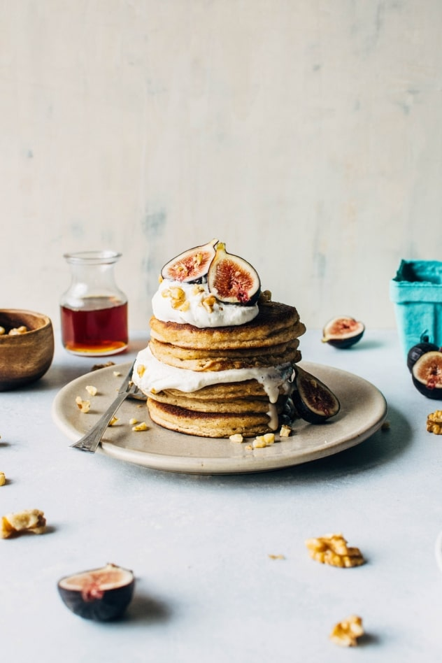 Fluffy grain free pancakes with fresh figs and whipped cream. So fluffy, tender and crisp in all the right places - a literal grain free pancake dream come true.