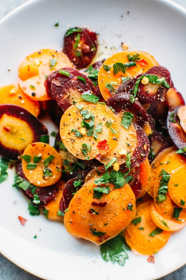 Shaved carrot and parsley salad! A bright and colorful counterpart to your hearty meals. Made with simple ingredients you probably already have on hand. Paleo and Vegan.