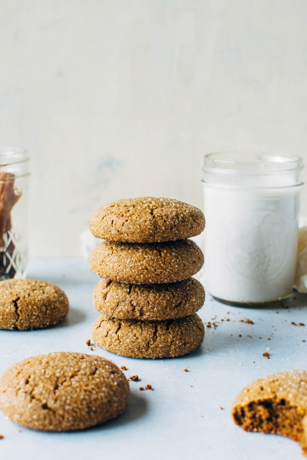 Perfect grain free gingersnap cookies! Made with chickpea flour. Perfectly spiced, tender and chewy.