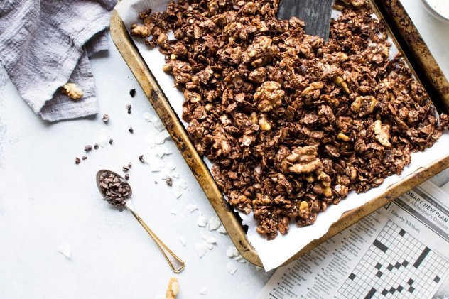 This easy dark chocolate paleo grain free granola is gluten free, dairy free, and packed with all the things you love about granola without any of the grains. Easy to make, good for you, and so freaking delicious. I know it's going to earn a fast spot in your heart and in your kitchen!