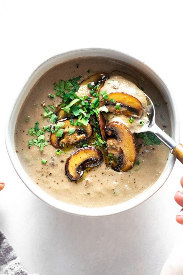 Homemade Cream Of Mushroom Soup With Fresh Herbs Gluten Free Vegan Whole30 Nyssa S Kitchen