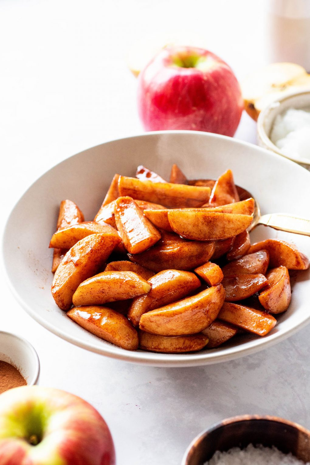 bowl of baked apple slices