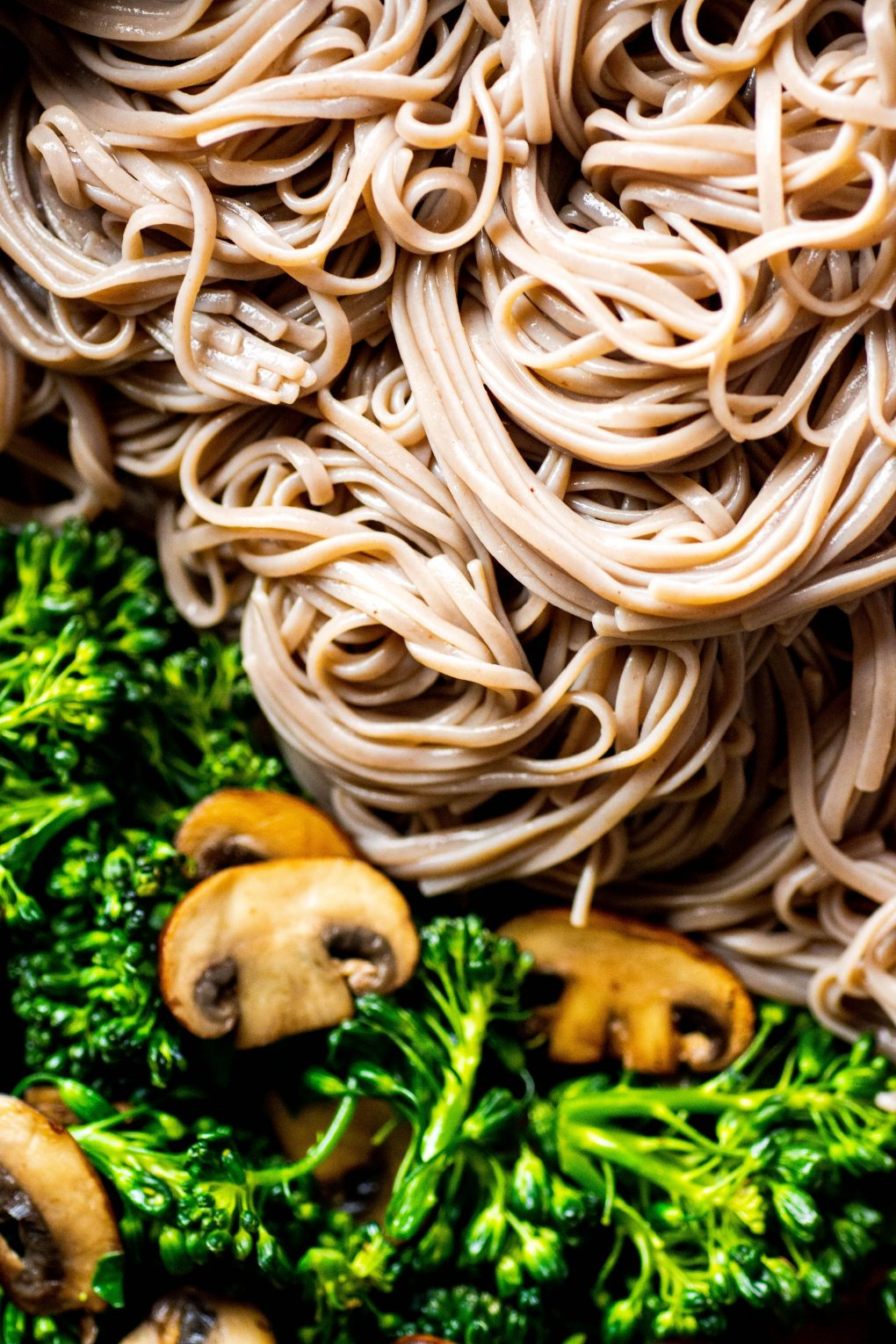 Super close up shot of tangled soba noodles in a skillet alongside caramelized mushrooms and bright green broccolini.