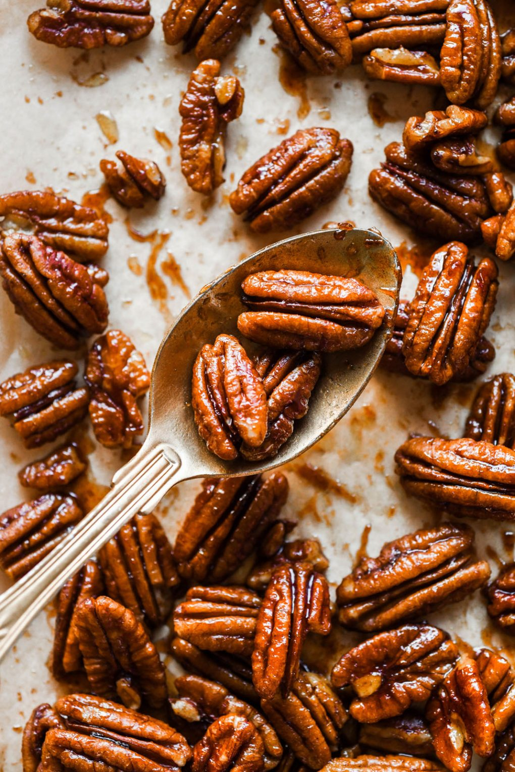 Close up shot of a spoon lifting some golden brown candied pecans up over a parchment paper lined baking sheet filled with easy maple syrup candied pecans.