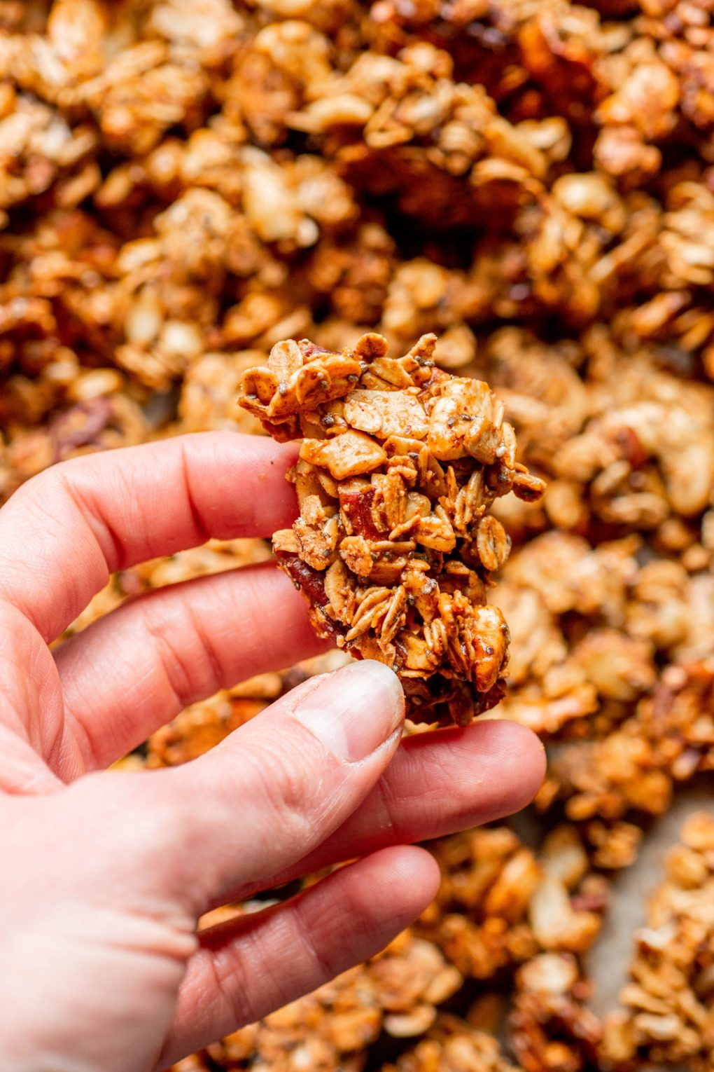 Image of a hand holding a large granola cluster, over a baking sheet filled with gluten free granola.