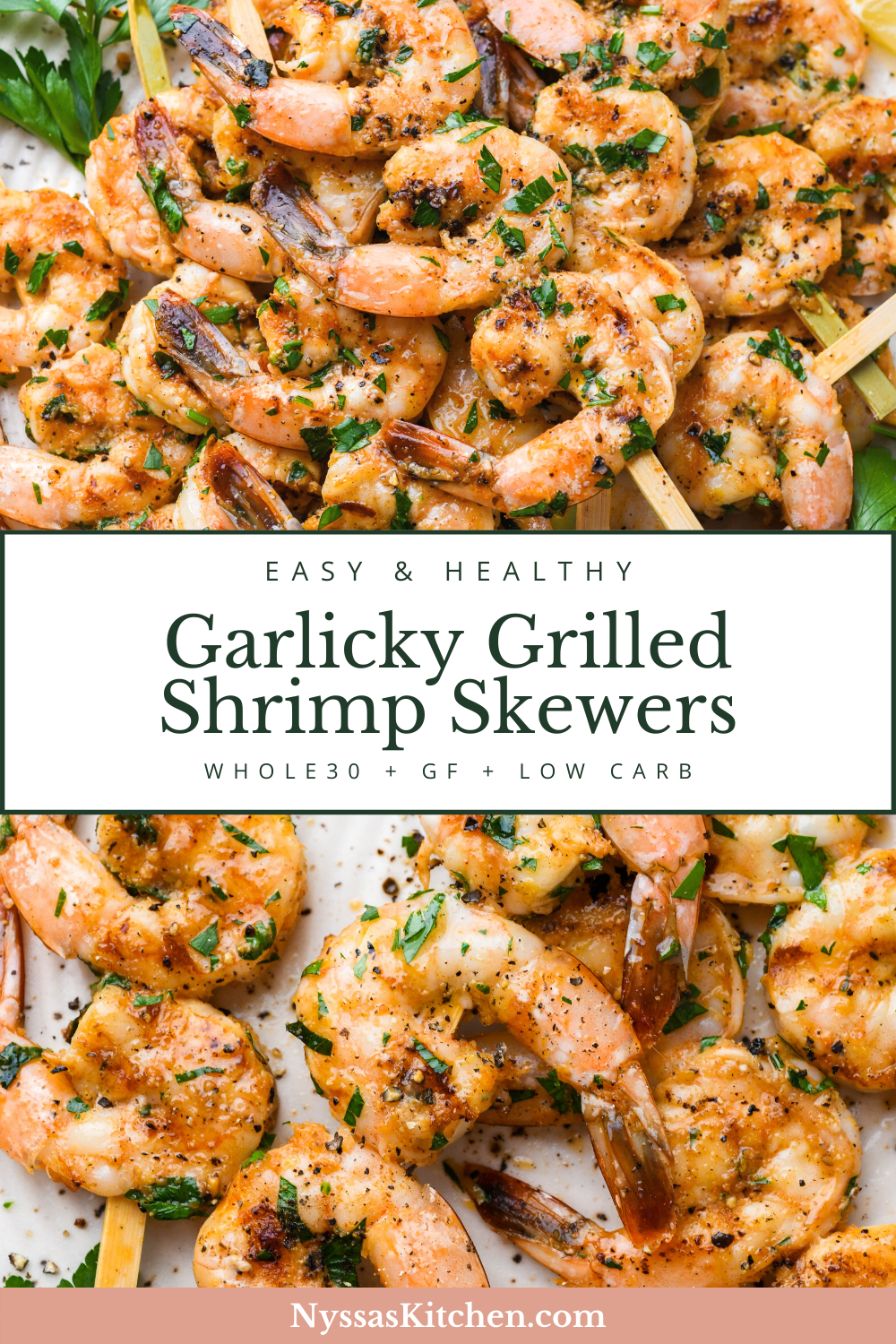 These garlicky grilled shrimp skewers are a super simple and flavorful recipe that is a delicious grilling staple! Made with large juicy shrimp, and a quick garlic and herb infused marinade, they are perfect for a weekend BBQ or an easy family dinner. Option for cooking in the oven included in blog post. Whole30 compatible, paleo, gluten free, dairy free, and low carb / keto.