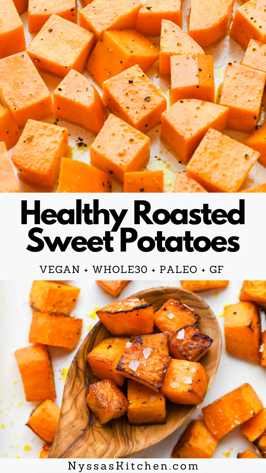 These healthy roasted sweet potatoes make an easy side dish or tasty addition to all kinds of dishes - from bowls, to breakfasts, to salads. They are crispy on the outside, soft on the inside, and perfectly seasoned. Great for meal prep or your holiday table! Whole30 compatible, paleo, gluten free, and vegan.